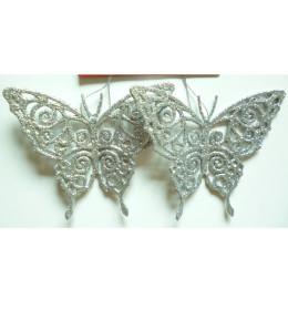 Leptir 11 cm 2kom/set srebrni