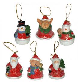 Božićni ukrasi keramika 6 kom